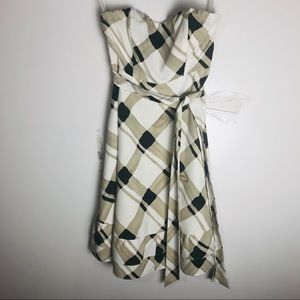 The Limited Plaid Strapless Ruffle Hem Dress 0 EUC